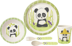 p:os 30570 5tlg. Frühstücksset Panda aus Bambus in offener Geschenkverpackung