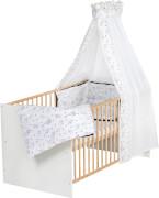 Komplettbett Classic Gold 70x140 cm inkl. 4-teiliger textiler Ausstattung Origami Black, Matratze und Himmelstange