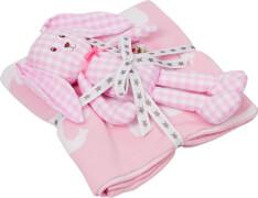 Geschenkset Strickdecke+Schlenker-Häschchen, rosa BabyGlück