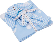 Geschenkset Strickdecke+Schlenker-Häschen, hellblau BabyGlück
