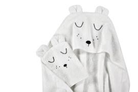 ALVI Frottier-Set Kapuzenbadetuch und Waschhandschuh, weiß