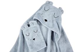 ALVI Frottier-Set Kapuzenbadetuch und Waschhandschuh, hellblau