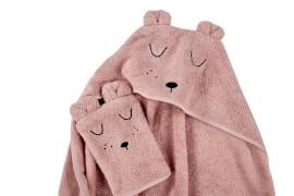 ALVI Frottier-Set Kapuzenbadetuch und Waschhandschuh, rosa